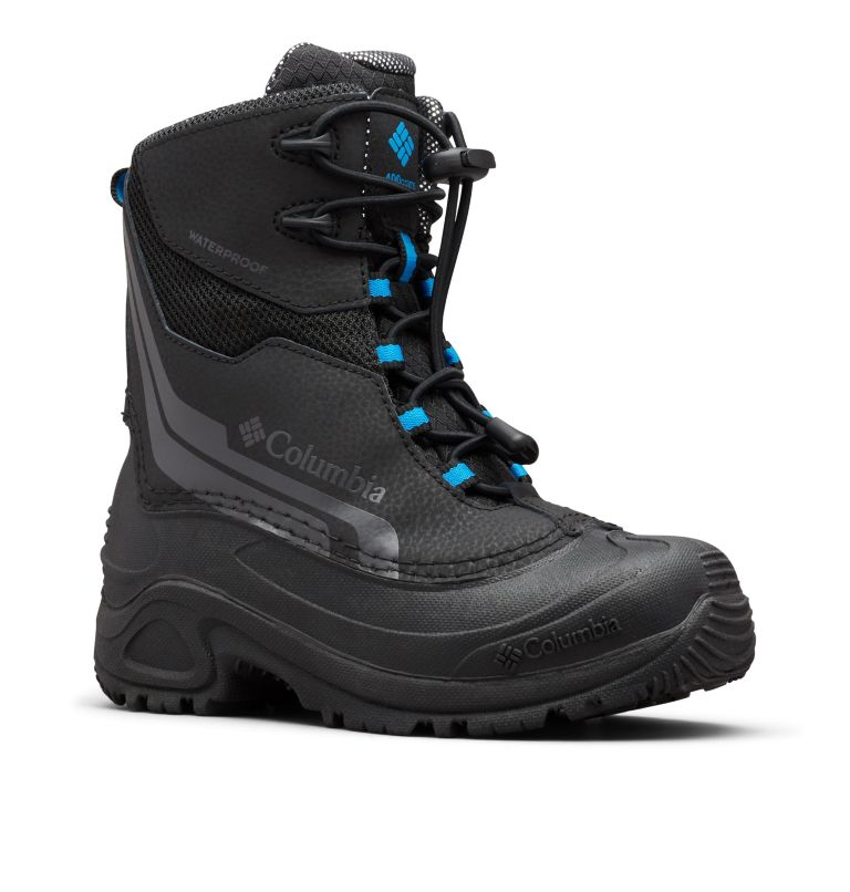 YOUTH BUGABOOT™ PLUS IV OMNI-HEAT™ | 010 | 1 Big Kids' Bugaboot™ Plus IV Omni-Heat™ Boot, Black, Hyper Blue, 3/4 front