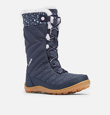 Big Kids' Minx™ Mid III Print Waterproof Omni-Heat™ Boot YOUTH MINX™ MID III PRINT OMNI-HEAT™ | 439 | 1, Abyss, Light Thistle, 3/4 front