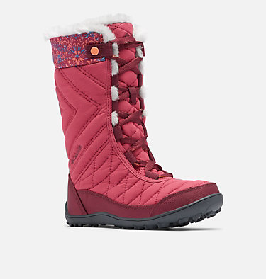 Big Kids' Minx™ Mid III Print Waterproof Omni-Heat™ Boot YOUTH MINX™ MID III PRINT OMNI-HEAT™ | 439 | 1, Dark Fuchsia, Lychee, 3/4 front