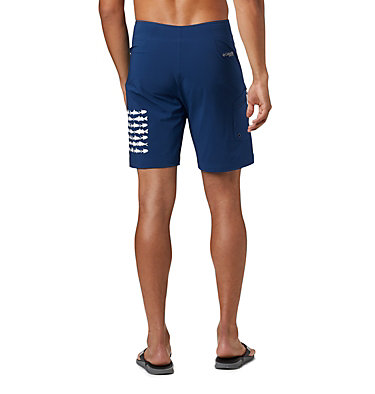 Men's PFG Fish Series™ Board Shorts PFG Fish Series™ Board Short | 471 | 38, Carbon, White Fish Flag, back