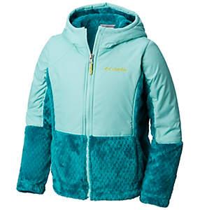 Manteau à glissière pleine longueur hybride Fluffy Fleece™ pour fille