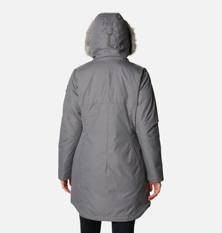 Suttle Mountain™ Long Insulated Jacket   023   S Women's Suttle Mountain™ Long Insulated Jacket, City Grey, back