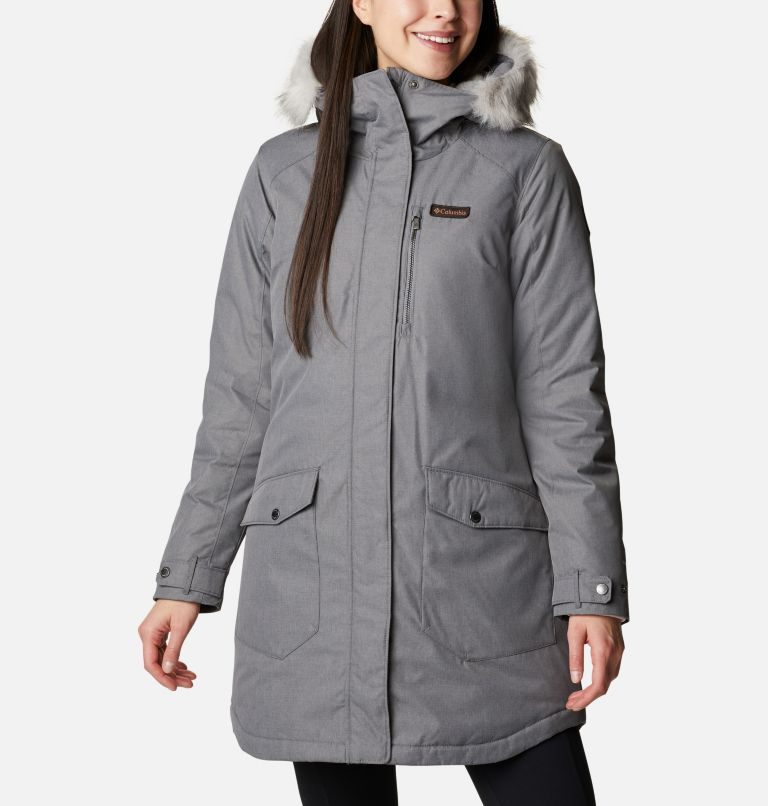 Suttle Mountain™ Long Insulated Jacket   023   S Women's Suttle Mountain™ Long Insulated Jacket, City Grey, front