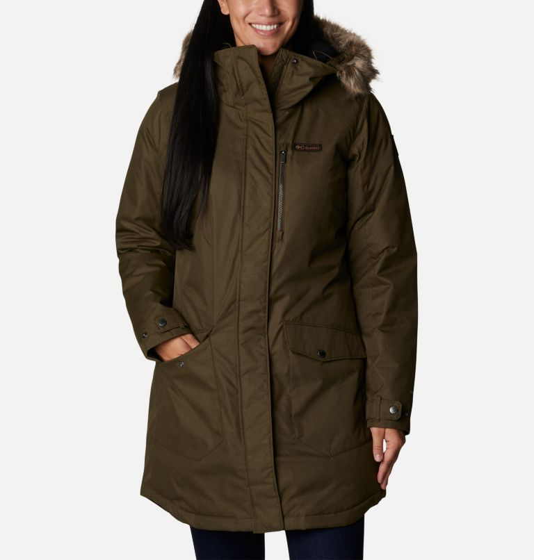 Suttle Mountain™ Long Insulated Jacket   319   S Women's Suttle Mountain™ Long Insulated Jacket, Olive Green, front