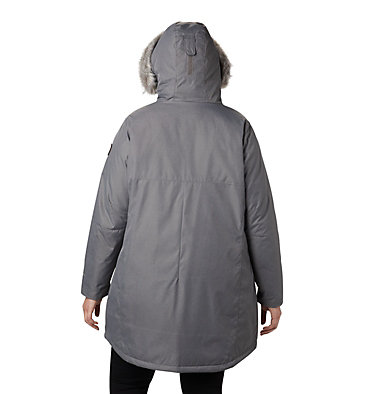 Women's Suttle Mountain™ Long Insulated Jacket - Plus Size Suttle Mountain™ Long Insulated Jacket | 618 | 1X, City Grey, back