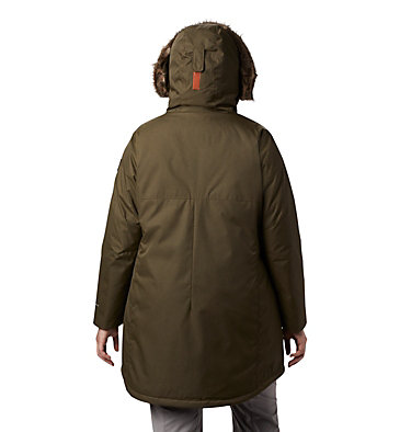 Women's Suttle Mountain™ Long Insulated Jacket - Plus Size Suttle Mountain™ Long Insulated Jacket | 618 | 1X, Olive Green, back