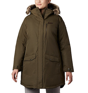 Women's Suttle Mountain™ Long Insulated Jacket - Plus Size Suttle Mountain™ Long Insulated Jacket | 618 | 1X, Olive Green, front