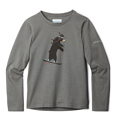 Kids' Animal Antics™Long Sleeve Shirt Animal Antics™Long Sleeve Shi   032   M, Charcoal Heather Bear Graphic, back
