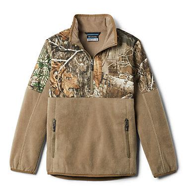 Boys' PHG™ Overlay 1/4 Zip Fleece Pullover PHG™ Overlay Half Zip Fleece   250   L, Flax, front