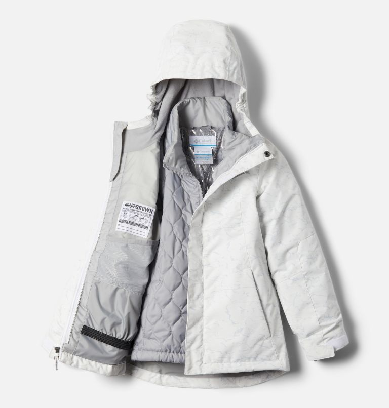 Whirlibird™ II Interchange Jacket | 100 | S Girls' Whirlibird™ II Interchange Jacket, White Crackle Print, Columbia Grey, a2