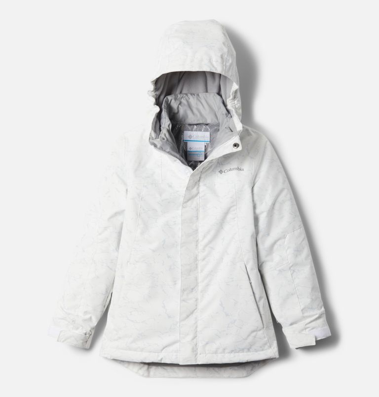 Whirlibird™ II Interchange Jacket | 100 | S Girls' Whirlibird™ II Interchange Jacket, White Crackle Print, Columbia Grey, front