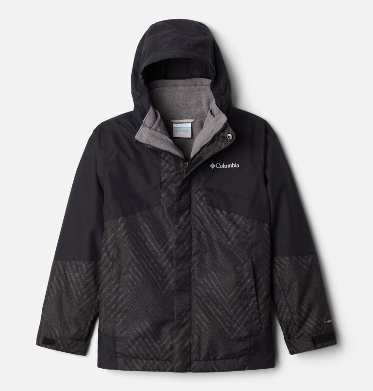 Bugaboo™ II Fleece Interchange Jacket | 015 | XS Manteau Interchange en laine polaire Bugaboo II pour garçon, Black Chevron Print, Black, front