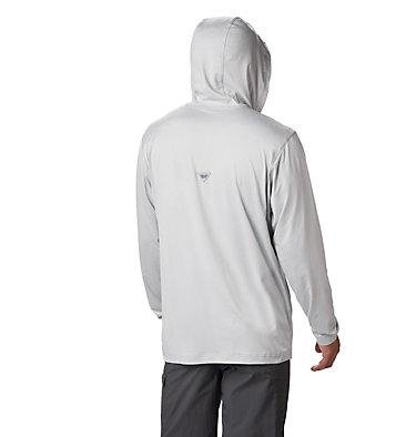 Men's PFG Slack Tide™ Henley Hoodie Slack Tide™ Henley Hoodie | 360 | S, Cool Grey Heather, back