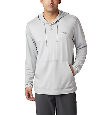 Slack Tide™ Henley Hoodie Slack Tide™ Henley Hoodie   488   3X, Cool Grey Heather, front