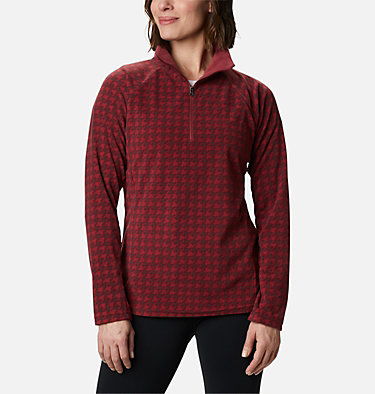 Women's Glacial™ IV Print Half Zip Pullover Glacial™ IV Print 1/2 Zip | 472 | XS, Marsala Red Houndstooth, front