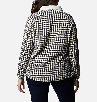 Women's Glacial™ IV Print Half Zip Pullover - Plus Size Glacial™ IV Print 1/2 Zip | 033 | 1X, Chalk Houndstooth, back