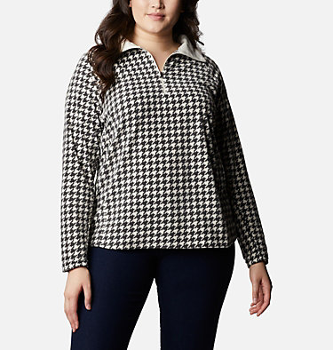 Women's Glacial™ IV Print Half Zip Pullover - Plus Size Glacial™ IV Print 1/2 Zip | 033 | 1X, Chalk Houndstooth, front