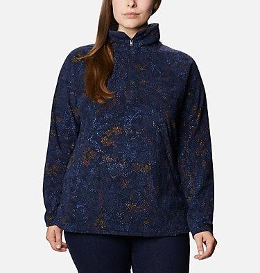 Women's Glacial™ IV Print Half Zip Pullover - Plus Size Glacial™ IV Print 1/2 Zip | 033 | 1X, Dark Nocturnal Dotty Floral, front