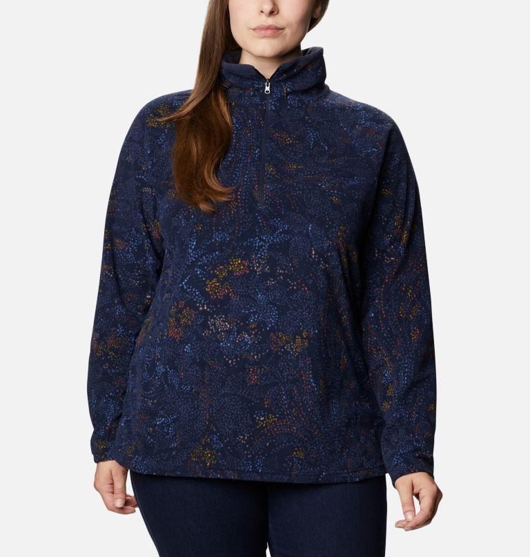 Glacial™ IV Print 1/2 Zip | 472 | 2X Women's Glacial™ IV Print Half Zip Pullover - Plus Size, Dark Nocturnal Dotty Floral, front