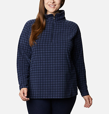 Women's Glacial™ IV Print Half Zip Pullover - Plus Size Glacial™ IV Print 1/2 Zip | 033 | 1X, Dark Nocturnal Houndstooth, front