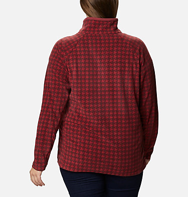 Women's Glacial™ IV Print Half Zip Pullover - Plus Size Glacial™ IV Print 1/2 Zip | 033 | 1X, Marsala Red Houndstooth, back