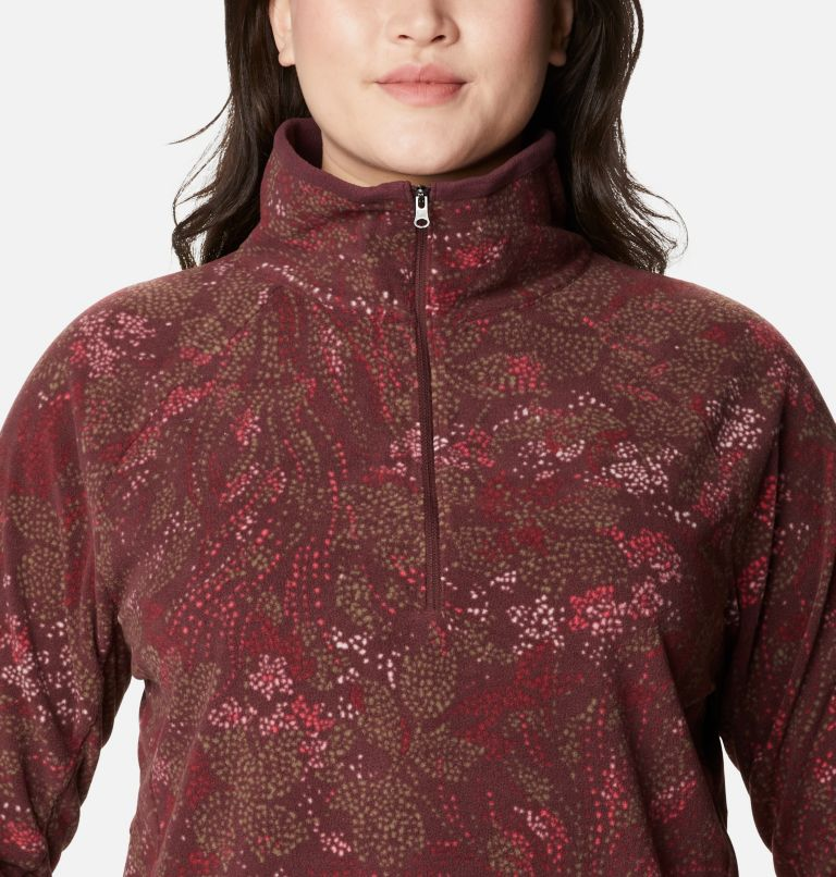 Glacial™ IV Print 1/2 Zip | 671 | 3X Women's Glacial™ IV Print Half Zip Pullover - Plus Size, Malbec Dotty Floral, a2