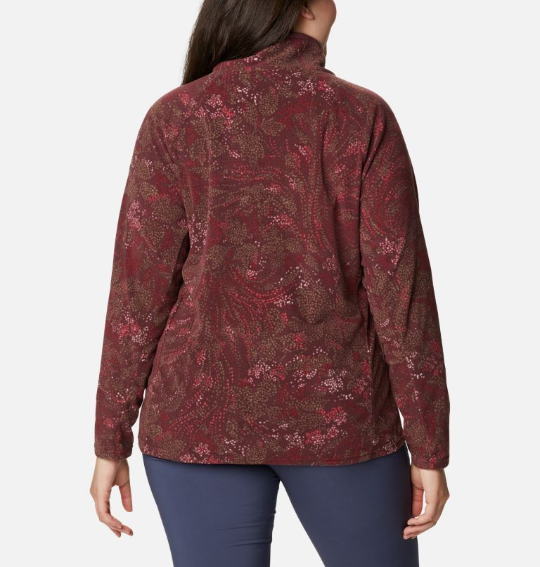 Glacial™ IV Print 1/2 Zip | 671 | 3X Women's Glacial™ IV Print Half Zip Pullover - Plus Size, Malbec Dotty Floral, back