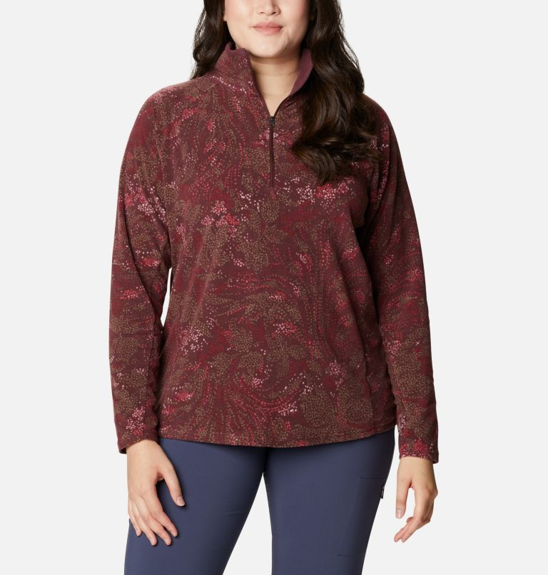 Glacial™ IV Print 1/2 Zip | 671 | 3X Women's Glacial™ IV Print Half Zip Pullover - Plus Size, Malbec Dotty Floral, front