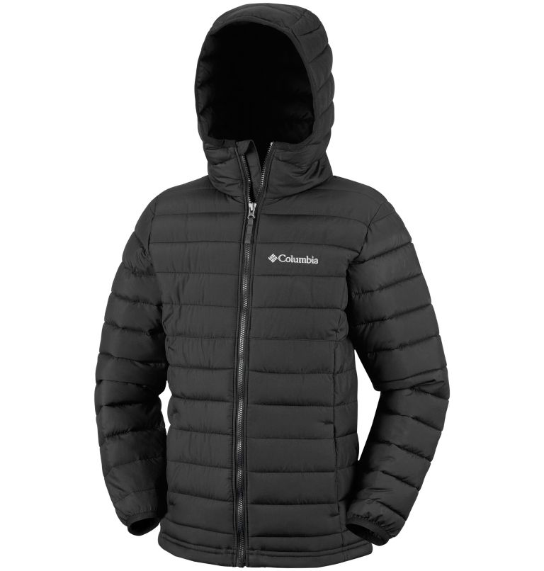 Powder Lite™ Boys Hooded Jacke | 010 | XS Powder Lite™ Boys Hooded Jacket, Black, a1