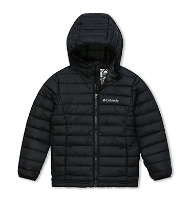 Powder Lite™ Boys Hooded Jacket Powder Lite™ Boys Hooded Jacket | 011 | XS, Black, front