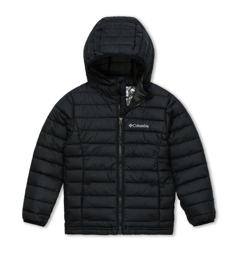 Powder Lite™ Boys Hooded Jacke | 010 | XS Powder Lite™ Boys Hooded Jacket, Black, front