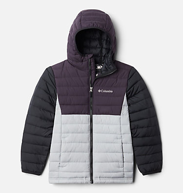 Powder Lite™ Boys Hooded Jacket Powder Lite™ Boys Hooded Jacket | 011 | XS, Columbia Grey, Dark Purple, Black, front