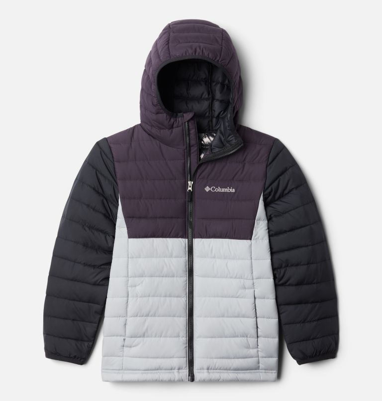 Powder Lite™ Boys Hooded Jacket | 039 | XS Powder Lite™ Boys Hooded Jacket, Columbia Grey, Dark Purple, Black, front