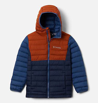 Powder Lite™ Boys Hooded Jacket Powder Lite™ Boys Hooded Jacket | 011 | XS, Coll Navy, Dark Adobe, Night Tide, front