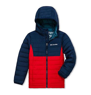 Powder Lite™ Kapuzenjacke für Jungen Powder Lite™ Boys Hooded Jacket | 011 | XS, Mountain Red, Collegiate Navy, front