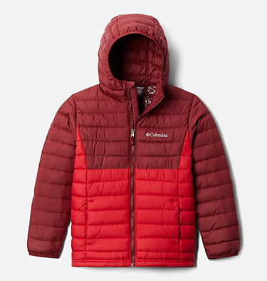 Powder Lite™ Boys Hooded Jacket Powder Lite™ Boys Hooded Jacket | 011 | XS, Mountain Red, Red Jasper, front