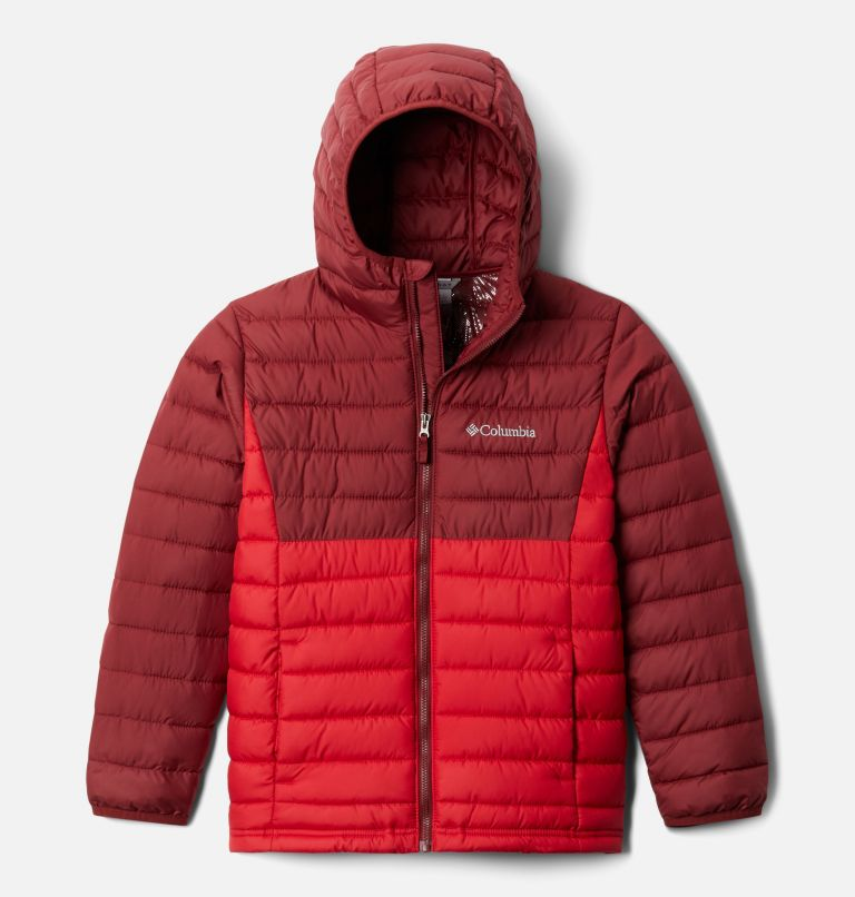 Powder Lite™ Boys Hooded Jacket | 614 | S Giacca con cappuccio Powder Lite™ da Ragazzo, Mountain Red, Red Jasper, front