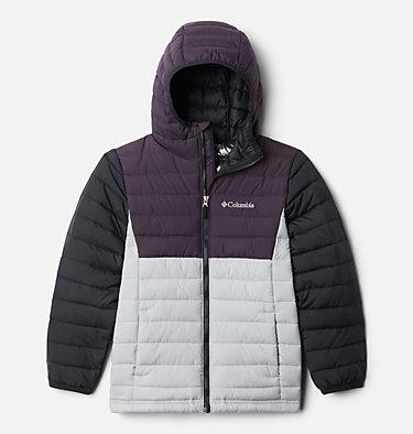 Boys' Powder Lite™ Hooded Jacket Powder Lite™ Boys Hooded Jacket | 432 | L, Columbia Grey, Dark Purple, Black, front
