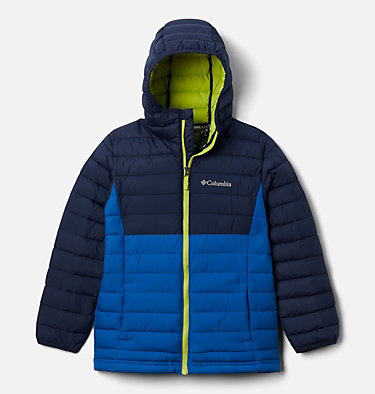 Boys' Powder Lite™ Hooded Jacket Powder Lite™ Boys Hooded Jacket | 432 | L, Bright Indigo, Collegiate Navy, front