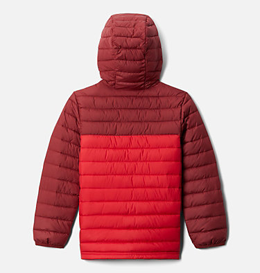 Boys' Powder Lite™ Hooded Jacket Powder Lite™ Boys Hooded Jacket | 614 | XS, Mountain Red, Red Jasper, back