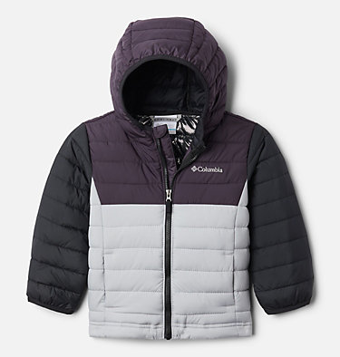 Boys' Toddler Powder Lite™ Hooded Jacket Powder Lite™ Boys Hooded Jacket | 432 | 2T, Columbia Grey, Dark Purple, Black, front