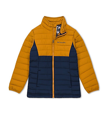 Powder Lite™ für Jungen Powder Lite™ Boys Jacket | 010 | L, Collegiate Navy, Canyon Gold, front