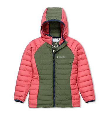 Powder Lite™ Kapuzenjacke für Mädchen Powder Lite™ Girls Hooded Jacket | 012 | XS, Cypress, Wild Salmon, front
