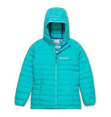 Powder Lite™ Girls Hooded Jacket Powder Lite™ Girls Hooded Jacket | 012 | XS, Geyser, front