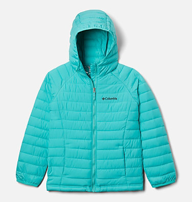 Powder Lite™ Girls Hooded Jacket Powder Lite™ Girls Hooded Jacket | 012 | XS, Dolphin, front