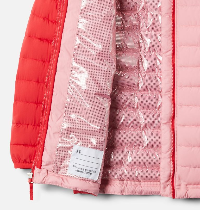 Powder Lite™ Girls Hooded Jacket | 658 | S Veste À Capuche Powder Lite™ Fille, Red Lily, Pink Orchid, a1