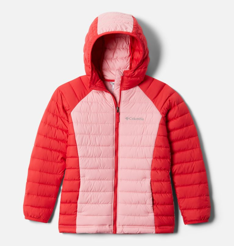 Powder Lite™ Girls Hooded Jacket | 658 | S Veste À Capuche Powder Lite™ Fille, Red Lily, Pink Orchid, front
