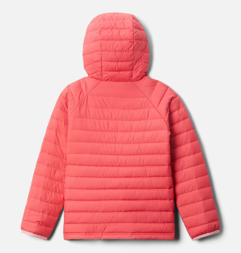 Powder Lite™ Girls Hooded Jacket | 673 | M Powder Lite™ Girls Hooded Jacket, Bright Geranium, back