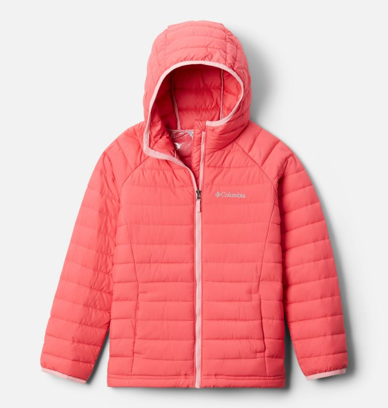Powder Lite™ Girls Hooded Jacket | 673 | M Powder Lite™ Girls Hooded Jacket, Bright Geranium, front
