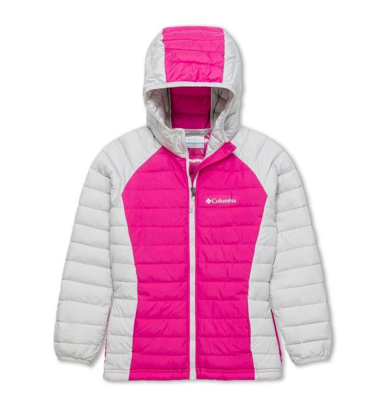 Powder Lite™ Girls Hooded Jack | 696 | XL Veste À Capuche Powder Lite™ Fille, Pink Ice, Silver Grey, front